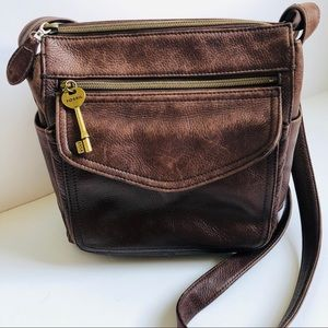 Crossbody Bag Fossil Vintage Brown Leather Key